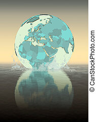 Lebanon on globe splashing in water