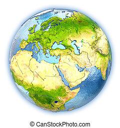 Lebanon on isolated globe