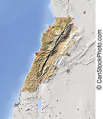 Lebanon, shaded relief map - Lebanon. Shaded relief map....