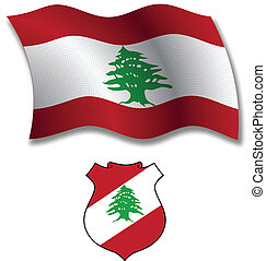 lebanon textured wavy flag vector