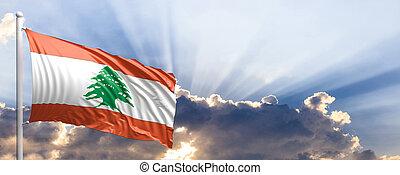 lebanon vlag, op, blauwe , sky., 3d, illustratie