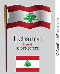 lebanon wavy flag and coordinates