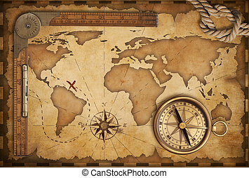 leben, antikisiert, altes , schatz, lineal, seil, landkarte,...