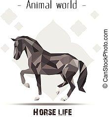 leben, blume, polygon, tier, bild, pferd, vektor, hintergrund, welt