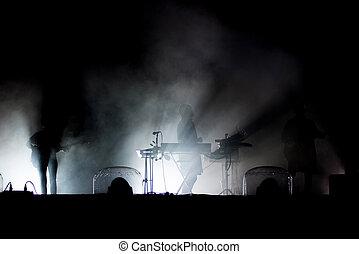 leben, concert., silhouette, von, künstler, auf, der, buehne