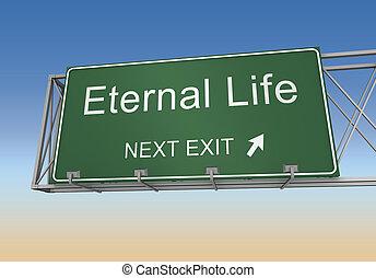 leben, ewig, abbildung, zeichen, straße, 3d