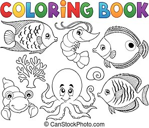 leben, färbung, marine, buch