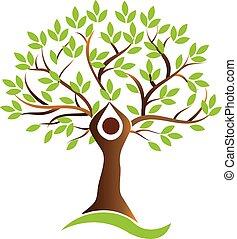 leben, gesunde, symbol, baum, vektor, menschliche