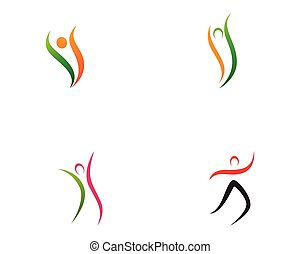 leben, gesunde, vektor, schablone, logo, ikone
