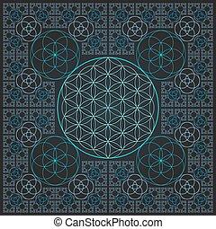 leben, grobdarstellung, heilig, fractal, kreis, blume, ...