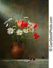 leben, noch, gänseblümchen, mohnblumen