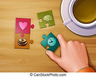 leben, puzzlesteine