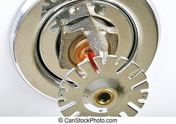 leben, rohrleitung, sprinkler, feuer, bild, system, auf, wasser, teil, entworfen, sprinkler, schließen, safety., integriert, white.