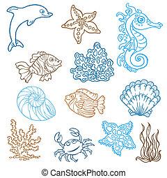 leben, -, sammlung, hand, vektor, doodles, gezeichnet, marine