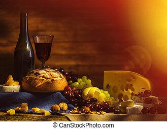 leben, trauben, verschieden, wein, sorts, noch, cheese., ...
