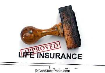 leben, -, versicherung, genehmigt