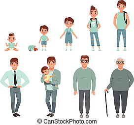 leben, zyklen, auf, abbildung, wachsen, vektor, baby, stadien, mann, mann
