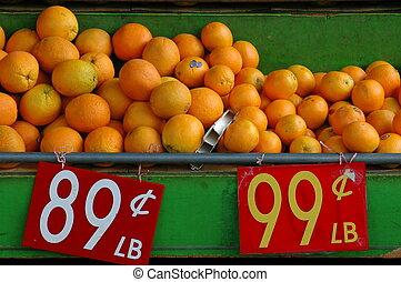 lebensmittel, bild, von, orangen, verkauf, an, a, marktbude