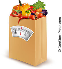 lebensmittel, diet., bag., papier, frisch, vektor, gesunde, illustration.