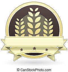 lebensmittel, etikett, korn, getreide, blankk, oder