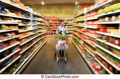 lebensmittel, frau- einkaufen, supermarkt