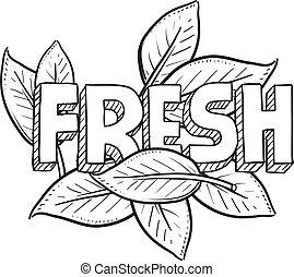 lebensmittel, frisch, skizze