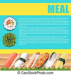 lebensmittel, infographic, design, japanisches