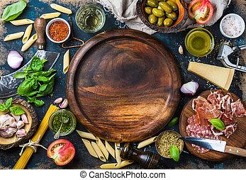 lebensmittel, kochen, hintergrund, kopie, bestandteile, italienesche, dunkel, raum, sperrholz