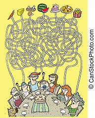 lebensmittel, labyrinth, spiel, familie