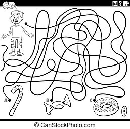 lebensmittel, lieb, färbung, labyrinth, junge, seite, buch