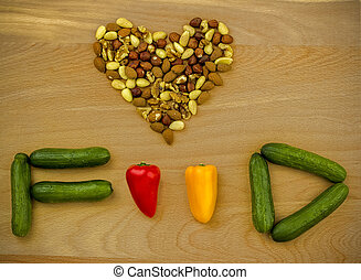 lebensmittel, love., nüsse, und, gemuese