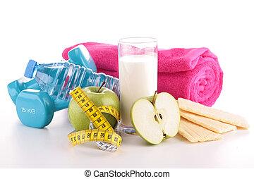 lebensmittel, machen diät, tauglichkeitsausrüstung
