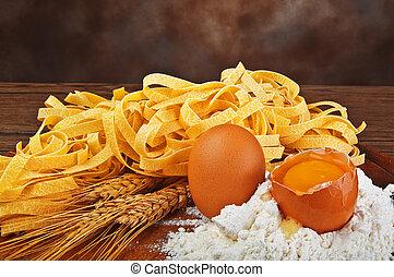 lebensmittel, mehl, nudelgerichte, typisch, ei, italienesche