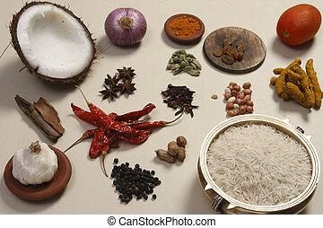 lebensmittel, mischung, indische , bestandteil