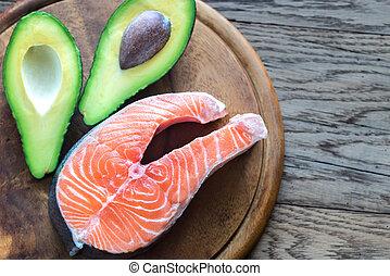 lebensmittel, mit, gesunde, fette