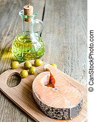 lebensmittel, mit, ungesättigt, fette, -, lachs, und, olivenöl