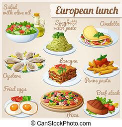 lebensmittel, mittagstisch, satz, icons., europäische
