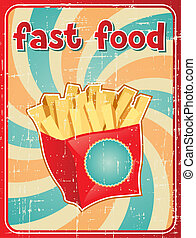 lebensmittel, pommes, schnell, franzoesisch, hintergrund, style., retro
