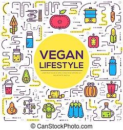 lebensmittel, poppig, fruehstueck, qualität, imbiß, set., hintergrund., gemüse, nahrhaft, wohnung, elemente, eco, vegan, illustrationen, gegenstände, mittagstisch, ikone, lebensstil, vektor, abendessen, nährstoff, tisch.