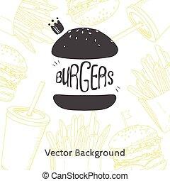 lebensmittel, schnell, hand, hamburger, hintergrund, gezeichnet