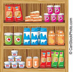 lebensmittel, shelfs, supermarket.