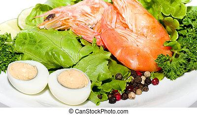 lebensmittel, spiegelei, garnele, salat