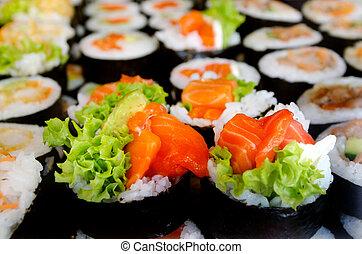 lebensmittel, sushiplatte, -, japanisches