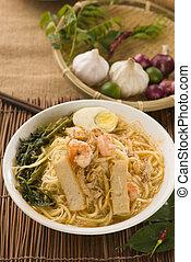 lebensmittel, topf, pikant, gekocht, noodles., garnele, heiß frisch, mee, mee, tonerde, steam., berühmt, malaysier, har