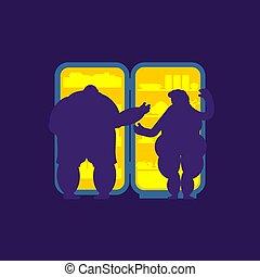 lebensmittel, verheiratet, kühlschrank, dicker , ehepaar., vielfraß, nacht, silhouette., rgeöffnete, kühlschrank