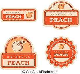 lebensmittel, weinlese, etiketten, pfirsich