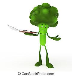 lebensmittel, zeichen, -, brokkoli