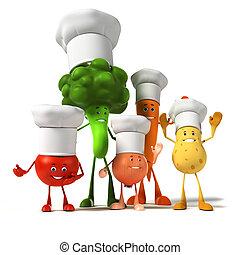 lebensmittel, zeichen, -, gemüse