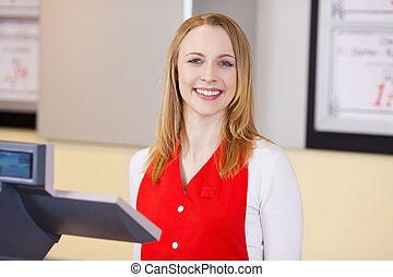 lebensmittelgeschäft, arbeiter, sicher, weibliche, Lächeln, kaufmannsladen