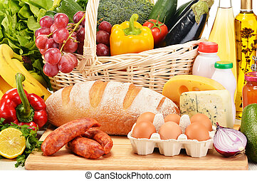 lebensmittelgeschäft, fleisch, gemischt, produkte, gemuese, ...